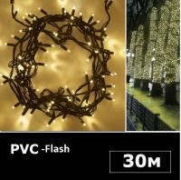 LED гирлянда нить 30м теплый белый Flash